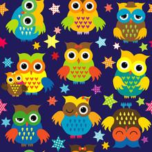 Cartoon Owls In The Nighttime ...