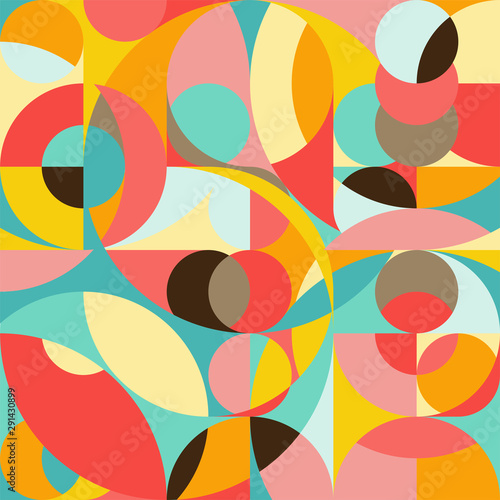 Photo Seamless pattern in geometric pop style 70s
