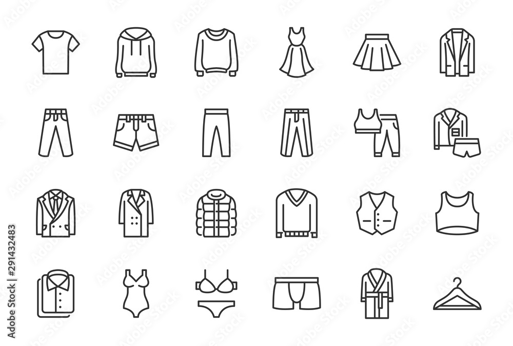Fototapeta Clothes, Fashion Line Icons. Vector Illustration Included Icon as Jacket, Winter Coat, Sweatshirt, Dress, Hoody, Jeans, Hanger and other Apparel Flat Pictogram for Cloth Store. Editable Stroke