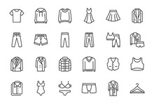 Clothes, Fashion Line Icons. V...