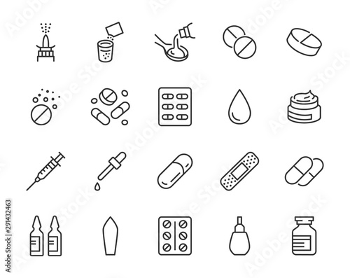 Fotografia Drug, Pharmacy Medical Line Icons