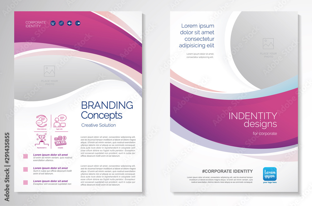 Fototapeta Template vector design for Brochure, AnnualReport, Magazine, Poster, Corporate Presentation, Portfolio, Flyer, infographic, layout modern with purple color size A4, Front and back, Easy to use.