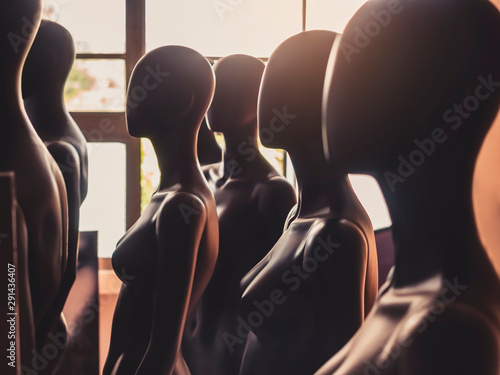 Mannequins stand in row Model pattern Fashion Industry Wallpaper Mural