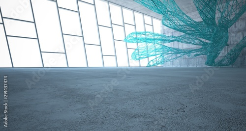 Abstract smooth  concrete and glass lines  interior  with window. 3D illustration and rendering. - 291437474
