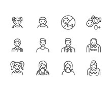 People Age Flat Line Icons Set...