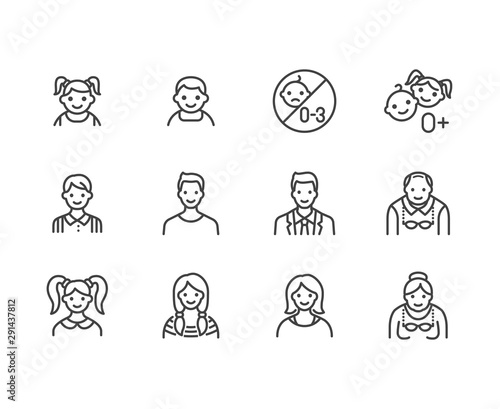 People age flat line icons set. Growth stage - baby boy, teenage girl, young woman, old man vector illustrations. Outline signs for family avatar, toy label. Pixel perfect 64x64. Editable Strokes - 291437812