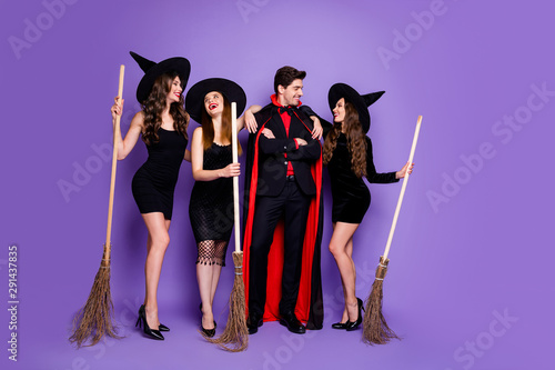 Obraz na plátně Full body photo of three people dark diabolic creatures wizard witches gathering