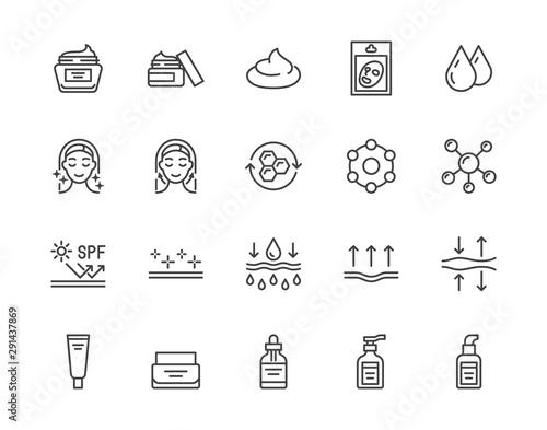 Photo Skin care flat line icons set