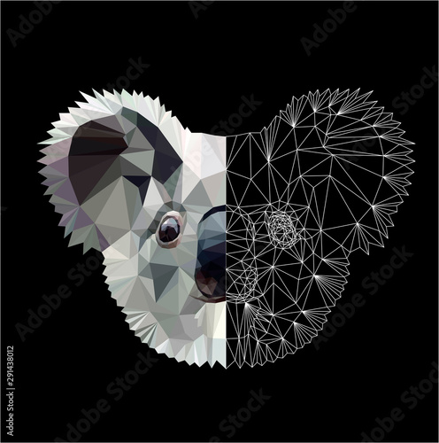 Low poly triangular koala head on black background, vector illustration isolated Fototapeta