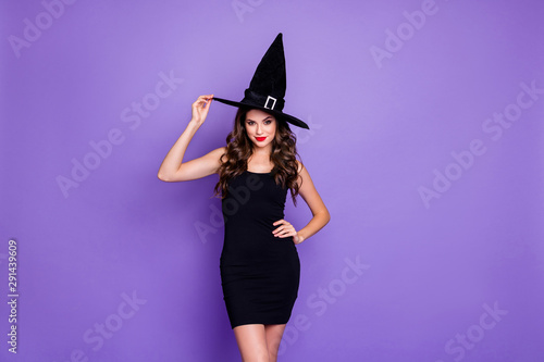 Wall Murals Equestrian Trick-or-treat. Portrait of charming woman witch gothic creepy fantasy creature of darkness want spell magic scary people feel coquette wear mini dress isolated over violet color background