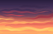 Striped red-black evening sky at sunset. Vector illustration.