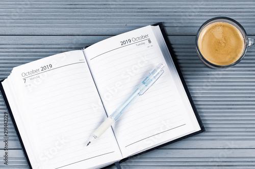 agenda et café Canvas Print