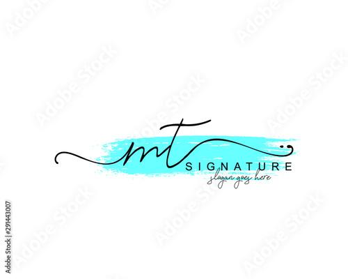Fotografie, Obraz Initial MT beauty monogram and elegant logo design, handwriting logo of initial