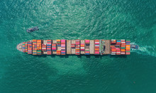 Aerial Top View Container Ship...