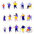 Set of flat people different generations characters. Bundle cartoon people different stages of human development isolated on white background. Vector illustration in flat modern style.