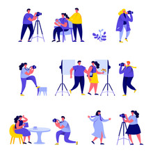 Set Of Flat People Photographers Take Different Pictures Characters. Bundle Cartoon People Photographers And Cameramans Isolated On White Background. Vector Illustration In Flat Modern Style.