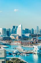 City Skyline Aerial Day View In Yokohama, Japan