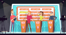 Quiz Tv Show. Smart Competition With Three Players Answered Question Entertainment Tournament Television Game Vector Background. Competition Tv Show, Quiz Contest Player, Smart Playing Illustration
