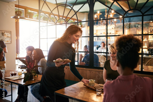 Fotografering Young waitress serving food to a table of smiling customers