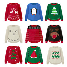 Ugly Sweaters. Funny Christmas Clothes Jumper With Decoration Cute Snowflakes Vector Sweaters Collection. Illustration Sweater And Jumper, Clothing Wool Christmas