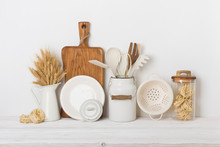 Bakery Decor Concept, Front View On Table Over White Wall