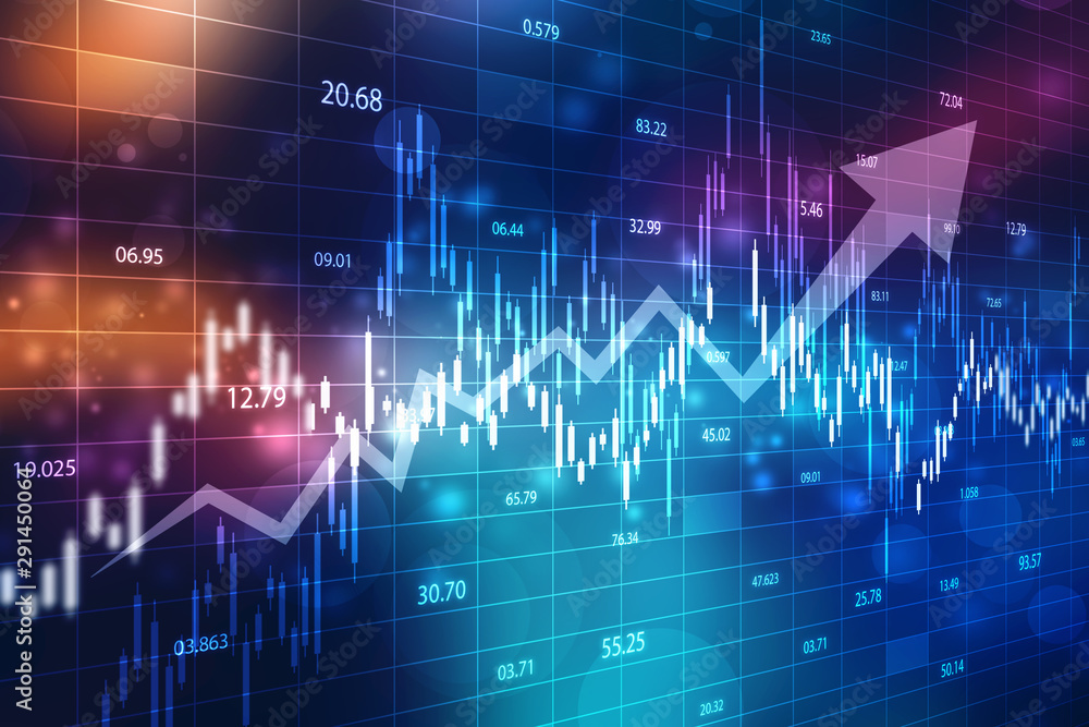 Fototapety, obrazy: Creative blue Forex chart wallpaper with grid. Invest and finance concept, Stock market chart. Business graph background, Financial Background