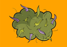 Illustration Of Purple Weed, Cannabis Bud