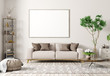 canvas print picture - Interior of modern living room with beige sofa and big mock up poster 3d rendering