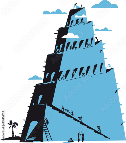 Foto Tower of Babel as religion concept, babylon, vector illustration