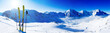 canvas print picture - Ski in winter season, mountains and ski touring backcountry equipments on the top of snowy mountains in sunny day. South Tirol, Solda in Italy.