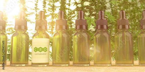 Foto auf Leinwand Logo CBD Bottles Hemp Plant