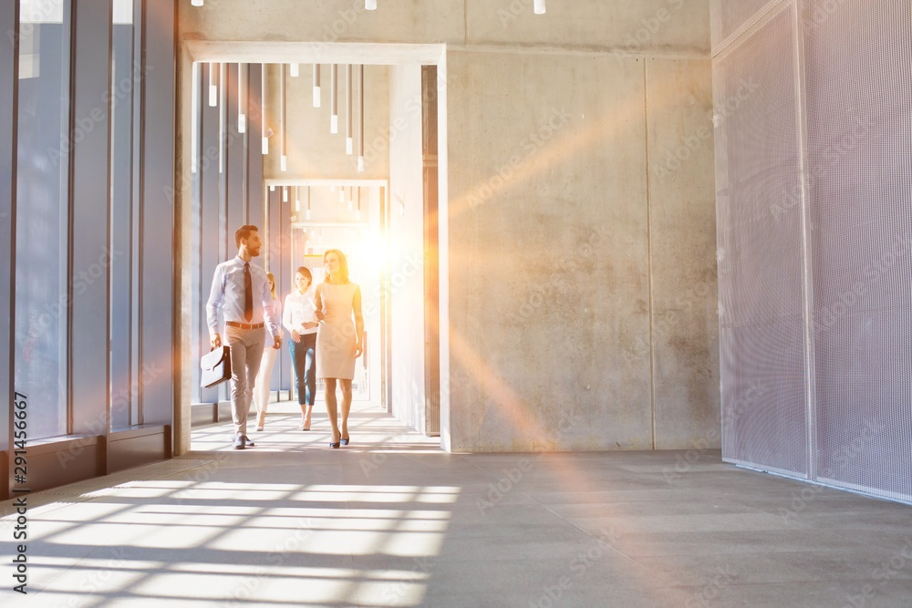 Fototapeta Business people walking in office hall with yellow lens flare in background