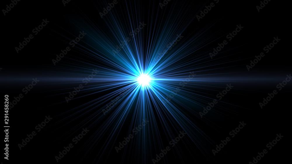Fototapeta Lens Flare light over Black Background. Easy to add overlay or screen filter over Photos.