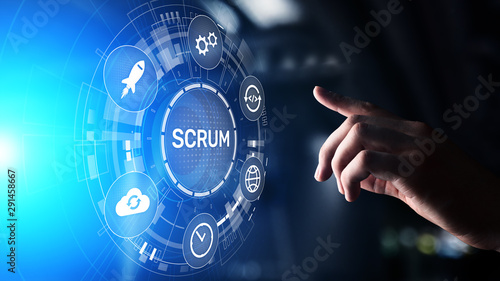 SCRUM, Agile development methodology, programming and application design technology concept on virtual screen Canvas Print