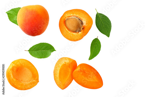 apricot fruits with slices and green leaf isolated on white background. top view - 291459000