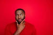 canvas print picture - Close-up portrait of his he nice attractive bearded guy boyfriend creating interesting novelty plan guessing clue decision isolated over bright vivid shine red background