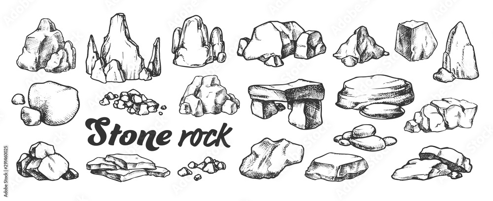 Fototapety, obrazy: Stone Rock Gravel Collection Monochrome Set Vector. Different Stone, Gravel And Pebble. Natural Rocky Slate Lump Engraving Template Hand Drawn In Retro Style Black And White Illustrations