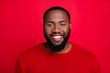 canvas print picture - Close-up portrait of his he nice attractive cheerful cheery content bearded guy boyfriend isolated over bright vivid shine red background