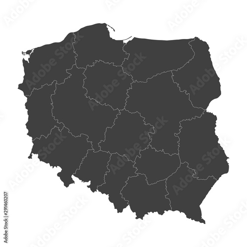 Obraz na plátně Poland map with selected regions in black color on a white background