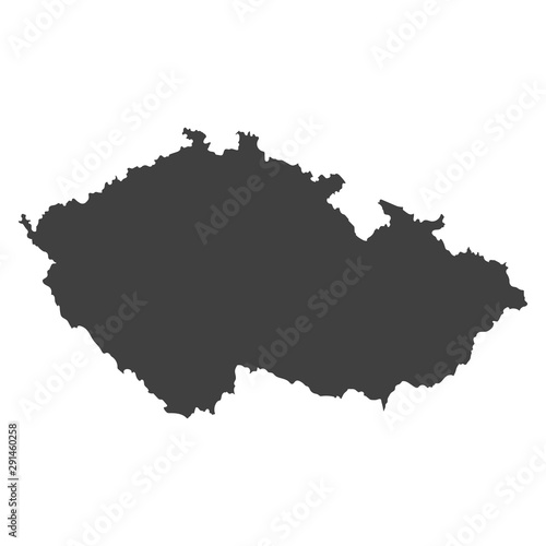 Czech Republic map in black color on a white background Canvas Print