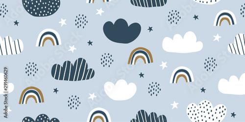 Childish seamless pattern with minimalistic clouds