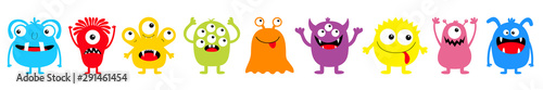 fototapeta na ścianę Happy Halloween. Monster colorful round silhouette icon set line. Eyes, tongue, tooth fang, hands up. Cute cartoon kawaii scary funny baby character. White background. Flat design.