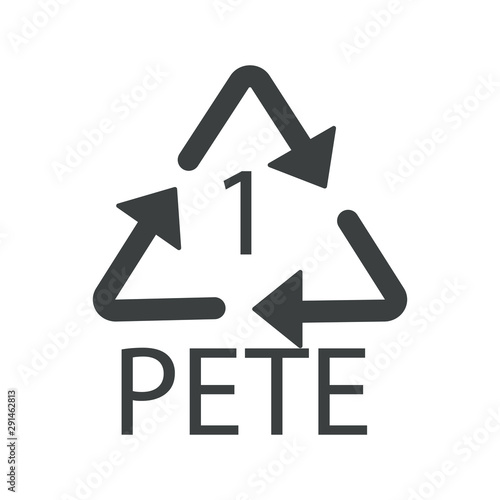 Photo Plastic recycling code, 1 PETE recycle symbol, isolated icon