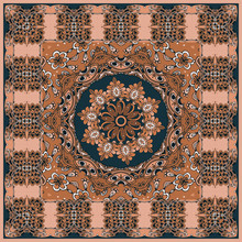 Bandana Print In Ethnic Style. Mandala Flower And Ornamental Border In Brown And Black Colors. Fashionable Accessory.