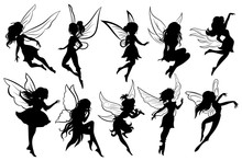 Set Of Fairies. Collection Of Girls Fairy Silhouettes. Black White Vector Illustration For Children. Magic Girls With Wings. Tattoo.