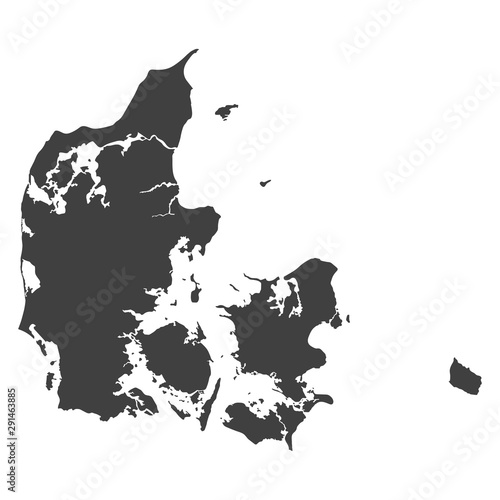 Fotografía Denmark map in black color on a white background