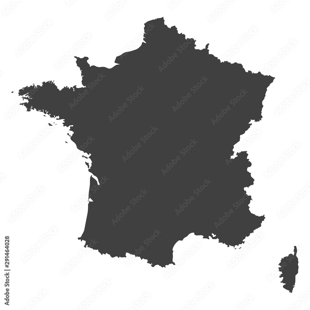 Fototapety, obrazy: France map in black color on a white background