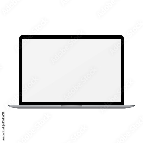 Fotografía Laptop with empty screen on a white background