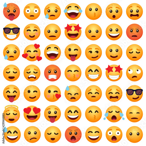 Fotografie, Obraz  Set of emoticon cartoon emojis smile for social media