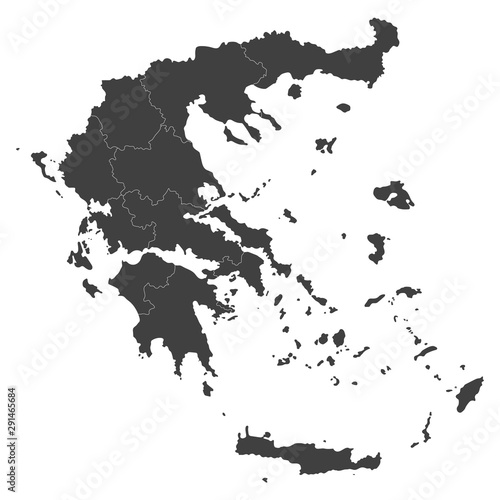 Greece map with selected regions in black color on a white background